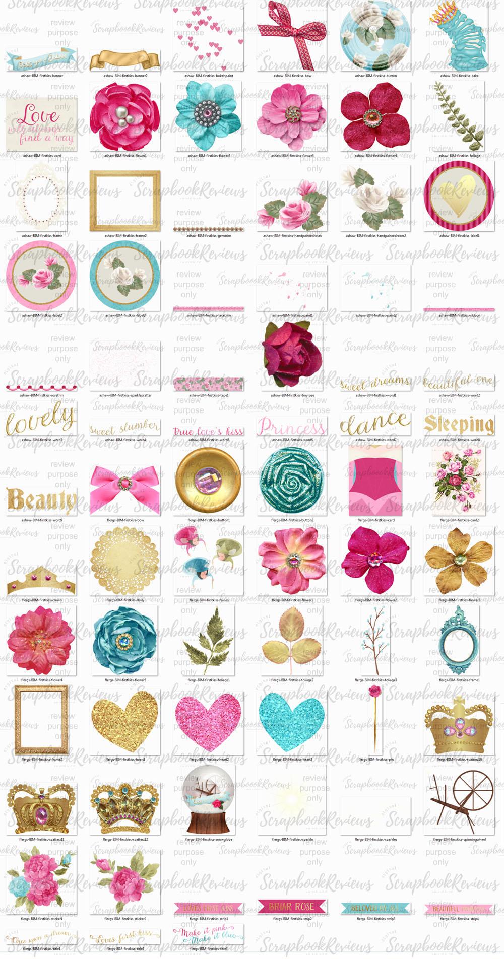 75 sleeping beauty themed digital scrapbook elements